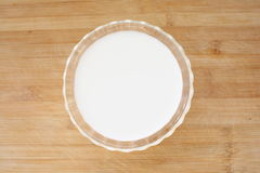 Glass of milk on white. A glass full of milk on wood background Royalty Free Stock Images