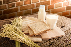 Glass of milk and whole wheat bread on the wooden board Stock Photography