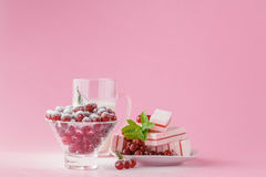 Glass of milk and wild cherry with sugar powder Royalty Free Stock Photography