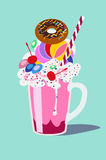 Glass with a milkshake with a whipped cream, with a donut and a cherry.  vector illustration flat design. Royalty Free Stock Images