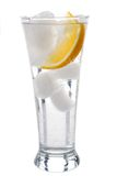 Glass of mineral water with lemon. 