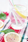 Glass of mineral water with lemon on bright napkin Stock Photography