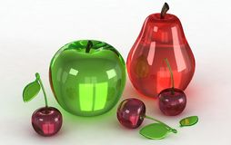 Glass Models of fruits Stock Photography