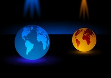 Glass Modern blue and orange globe  background,  illustration Royalty Free Stock Photos