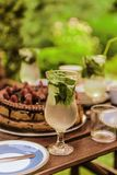 Glass of mojito and a cake. View of table during summer party Stock Photography