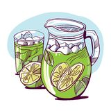 Glass of mojito, ice cubes, mint leaves, lime slice and whole lime. Hand drawing alcohol cocktail. Vector illustration in cartoon style. Summer green drink royalty free illustration