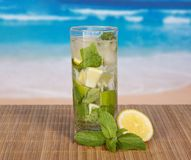 Glass with mojito, juicy lime and spearmint leaf Royalty Free Stock Photo