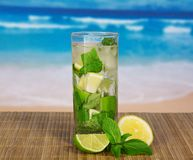 Glass with mojito, juicy lime and a spearmint Stock Photo