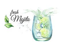 Glass of Mojito with splash. Watercolor hand drawn illustration stock illustration