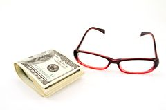 Glass and money, Royalty Free Stock Photography