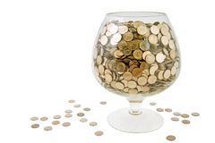 Glass with money Royalty Free Stock Photos