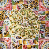 Glass mosaic ceramic tile, decoration in Park Guell, Barcelona, Stock Images