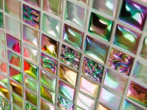 Glass mosaic tiles. Bathroom wall of colorful glass mosaic tiles Stock Images