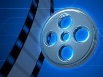 Glass Movie Tape 3D Background. Glass Movie Tape Blue 3D Background stock illustration