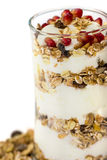 Glass of Muesli with fruits and yogurt Stock Image