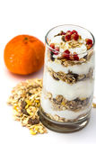 Glass of Muesli with fruits and yogurt Royalty Free Stock Photos