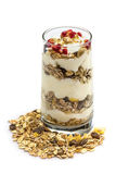 Glass of Muesli with fruits and yogurt Stock Images