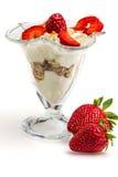 Glass of Muesli with strawberries and yogurt Royalty Free Stock Photography