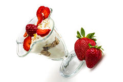 Glass of Muesli with strawberries and yogurt Royalty Free Stock Photography