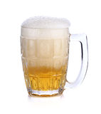 Glass mug with beer isolated on white background Stock Images