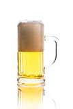 Glass mug with beer isolated on white Royalty Free Stock Photos