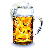 Glass mug with beer isolated on white background Stock Photo