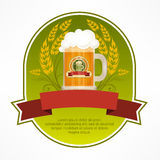 Glass mug of beer label Royalty Free Stock Images
