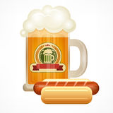 Glass mug of beer & sausage Stock Photos