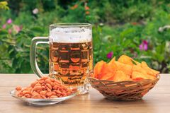 Glass mug of beer on wooden table with potato chips in wicker ba. Sket, peanuts in plate on wooden desk with natural green background Stock Photo