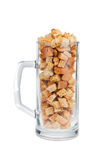 Glass Mug with bread croutons Stock Image