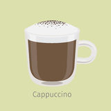 Glass Mug of Cappuccino with Creamy Foam Vector Royalty Free Stock Photo