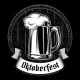 Beer Glass Barrel Foam Oktoberfest Holiday Black Background Ink Royalty Free Stock Images