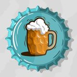 Glass Mug Of Draft Beer With Foam On Top View Beer Bottle Cap. Vector Image Royalty Free Stock Photo