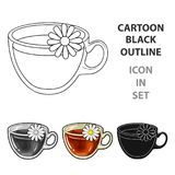 Glass mug with tea useful. Glass mug with tea useful.Vegetarian therapeutic chamomile tea.Vegetarian Dishes icon in cartoon style vector symbol stock web Royalty Free Stock Photography