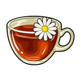 Glass mug with tea useful.Vegetarian therapeutic chamomile tea.Vegetarian Dishes single icon in cartoon style vector Stock Photo