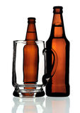 Glass mug and two bottles of beer, isolated Royalty Free Stock Photo