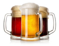 Glass mugs of beer Stock Photography