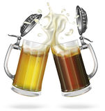 Glass mugs of dark and light beer. Two mugs with cap with ale, light or dark beer. Mug with beer. Glass. Vector Stock Images