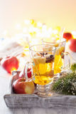 Glass of mulled apple cider with orange and spices, christmas de Stock Photos