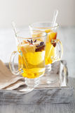 Glass of mulled apple cider with  orange and spices, winter drin Stock Photography