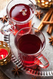Glass of mulled wine. Closeup shot of glass of mulled wine Stock Photos