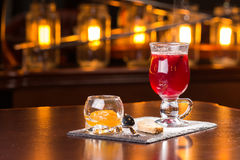 Glass of mulled wine. On the bar Stock Photography