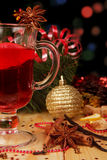 Glass of mulled wine with Christmas decorations Stock Image