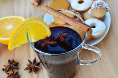 Glass of mulled wine - closeup Stock Photo