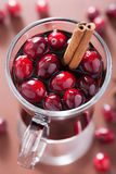 Glass of mulled wine with cranberry and spices, winter drink Royalty Free Stock Images