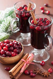 Glass of mulled wine with cranberry and spices, winter drink Royalty Free Stock Photography