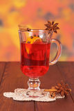 Glass of mulled wine on napkin Stock Images