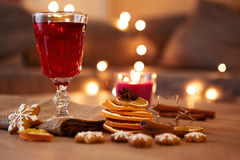 Glass of mulled wine with orange and spices Stock Photography