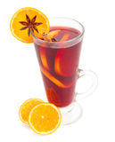 Glass of mulled wine with oranges Royalty Free Stock Image