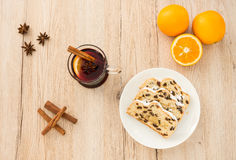 Glass of Mulled Wine and Slices of Christstollen Stock Photos